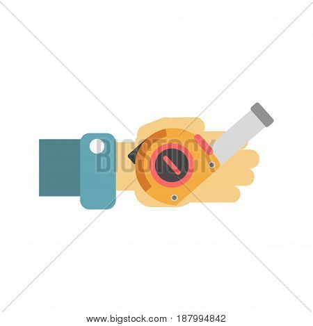 Vector illustration of a worker holding tape measure isolated on white.