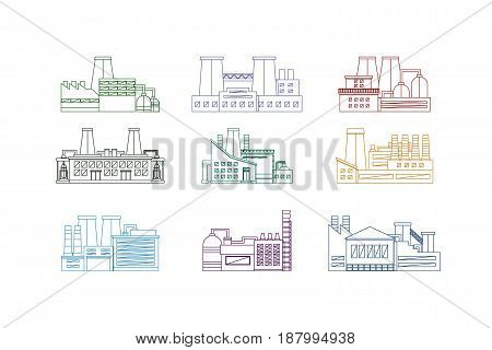 Factory or Industrial Building Thin Line Design Style Isolated Set. Energy Industry Vector illustration
