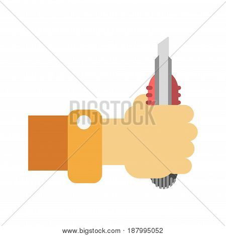 Vector illustration of hand holding a knife for builders isolated on white.