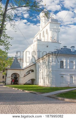 Veliky Novgorod, Russia - 23 May:the Towers Of Kremlin Fortress , Russia -23 May 2017.