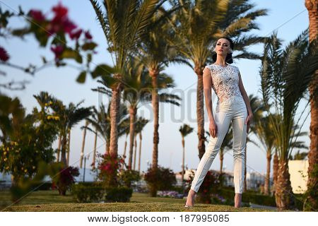 Bride In Beautiful Wedding Long Dress, Young Woman Outdoor