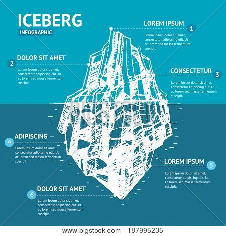 Iceberg Floating on a Sea Surface and Under Water Infographic Menu Hand Draw Sketch. Vector illustration