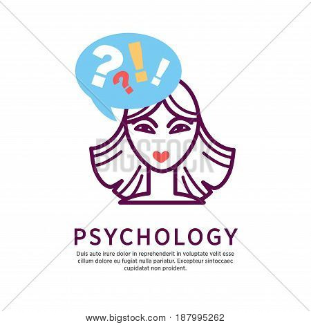 Vector illustration of female head with talk bubble and psychology word isolated on white.