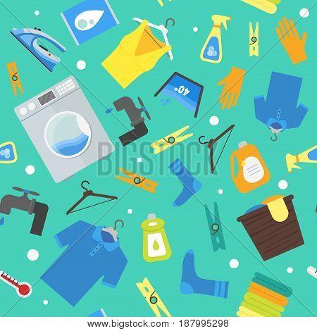 Cartoon Laundry Background Pattern. Washing and Ironing Housework Flat Design Style Vector illustration