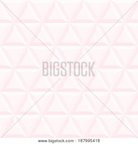 Seamless background with light pink volume triangles. Modern ornament with volume repeating shapes. Geometric pattern