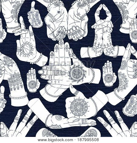 Seamless pattern with mudras on textured background. Mudras with mehndi henna patterns on hands, ethnic hindu ornament