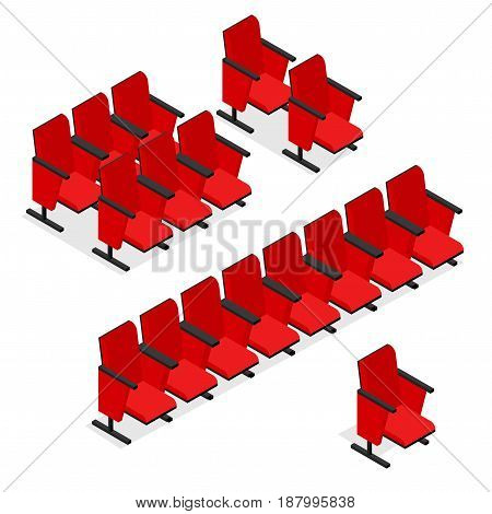 Cinema or Theater Seats Row Set Isometric View Comfortable Red Chair for Interior Auditorium. Vector illustration