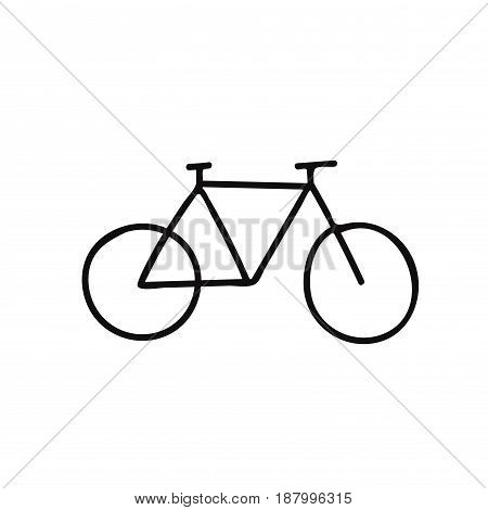 Sketch of a silhouette of a bicycle on white background.