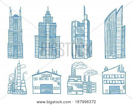Different modern building with offices industry and factories. Hand drawn illustration building architecture vector