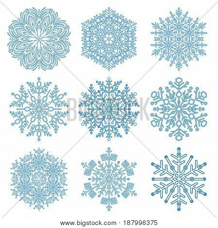 Set of snowflakes. Fine winter ornament. Snowflakes collection. Snowflakes for backgrounds and designs
