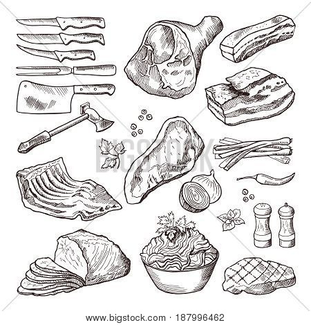 Different meat food. Pork bacon and kitchen accessories. Knife and axe vector. Hand drawn meat and knife for cut beef illustration