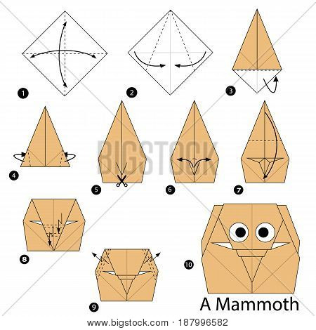 step by step instructions how to make origami A Mammoth.