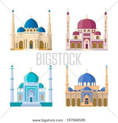 Vector set of four mosques. Arabic religion buildings. Cartoon illustrations set isolate on white background. Architecture mosque building muslim minaret and arabian church