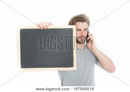 Blackboard In Hand Of Man With Mobile Phone