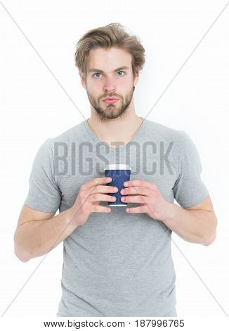 Office Man Hold Paper Takeaway Coffee Cup In Hand