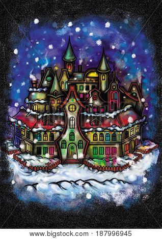 Illustration background with a fantasy town snowfall night sky and snowdrifts