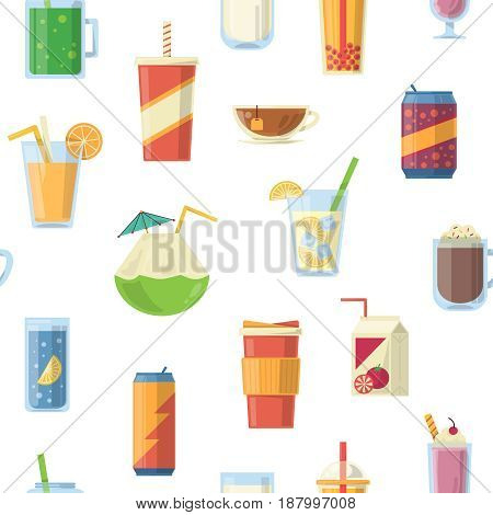 Vector seamless pattern with non alcoholic drinks. Vector illustrations. Seamless pattern with coffee and tea drink