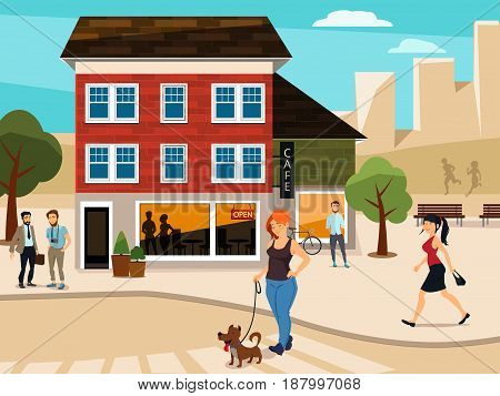 Urban illustration with walking people on the street. Road and buildings. Vector city street with building cafe and people man and woman