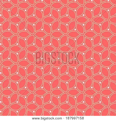 Seamless red and golden ornament. Modern background. Geometric pattern with repeating elements
