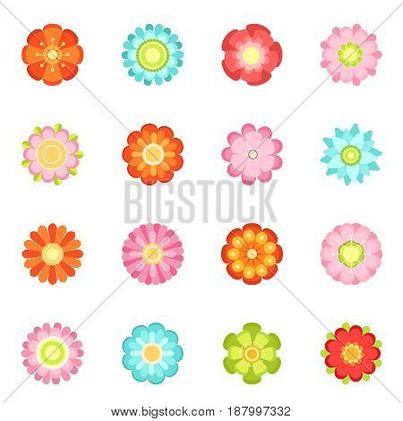 Cute floral vector illustrations in flat style. Flowering icon set of 70s. Colored flower spring isolated on white background