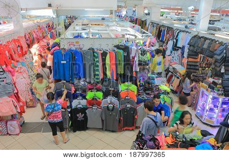 HO CHI MINH CITY VIETNAM - NOVEMBER 28, 2016: Unidentified people visit Saigon Square shopping mall.