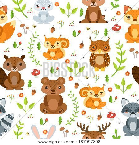 Vector seamless pattern of forest animals and summer plants. Seamless pattern forest plant and animal illustration