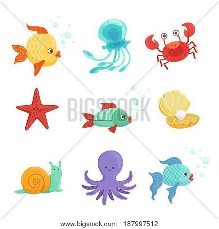Marine set with underwater plants and sea fishes in cartoon style. Vector illustrations set of cartoon animal and creature