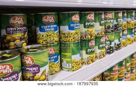 Canned Sliced Olives For Sale At Israeli Food Supermarket