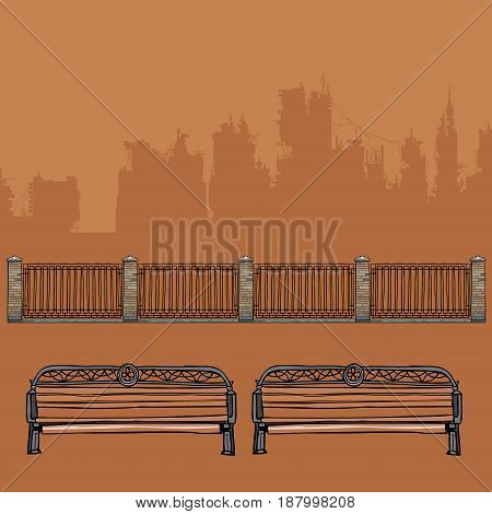 benches with wrought-iron decorations and wrought-iron fence with brick pillars