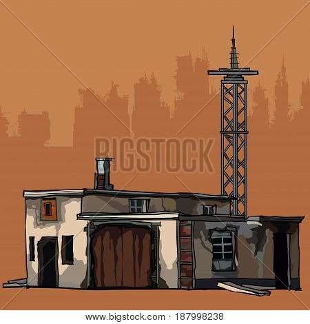 old dilapidated two-story building with a metal tower