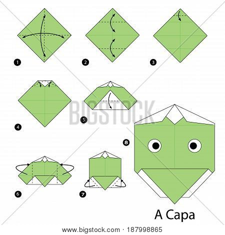 Step by step instructions how to make origami A Kappa.