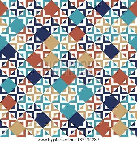 Blue red beige and white tiles geometric seamless pattern, vector background