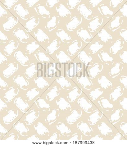 White and beige woven fabric ornament grunge seamless pattern, vector background