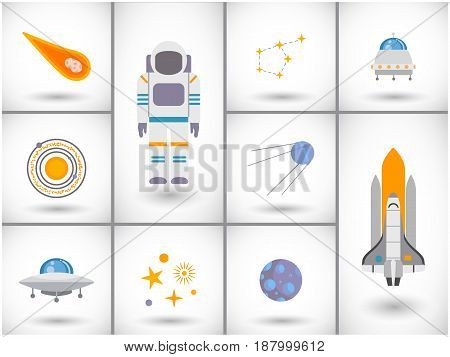Space exploration icons set Flat design with round shadow Vector illustration