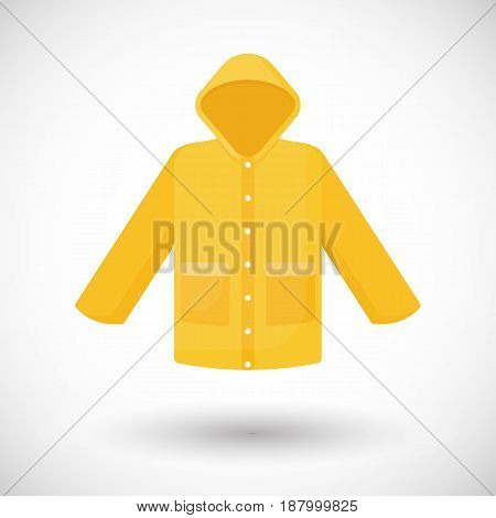 Raincoat icon Flat design of rain coat clothing with round shadow vector illustration