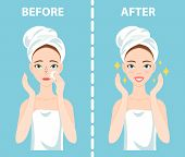 Before-After set of upset troubled and happy woman with female facial skin problems needs to care about: blackheads, clogged nose pores. poster