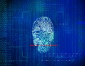 concept of security in the future technology information and Web address environment through fingerprints. Biometric identity control and approval. poster