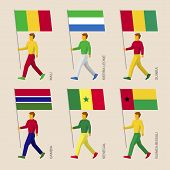 Set of simple flat people with flags of African countries. Standard bearers infographic - Benin, Liberia, Ghana, Cote d'Ivoire (Ivory Coast), Togo, Burkina Faso. poster