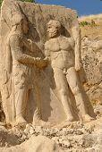 Historic monuments on Nemrut Mount in Turkey poster
