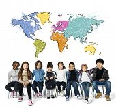 Children education learning with cartography mapping graphic poster