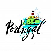Portugal The Travel Destination logo . Illustration of decorated Barcelos rooster symbol. hand-drawn lettering with watercolor elements poster