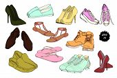 Vector illustration of Set hand drawn graphic Men and women Footwear, shoes. Casual and sport style, gumshoes for Shoes for all seasons. Moccasins, sneakers, boots, pumps. Doodle, drawing Design isolated object. poster