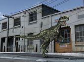 monolophosaurus in the street poster