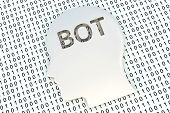 chat bot in the form of binary code, 3D illustration poster