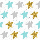 Doodle star seamless background. Grey blue and gold star. Abstract childish applique star pattern for christmas card new year invitation poster book cover textile fabric garment. Gold texture. poster