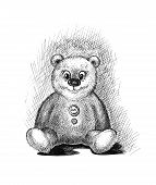Cute teddy bear sketch artwork bear bow child childhood poster