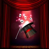 Magic Show poster design template. Magic show flyer design with hat and curtains. Magical illusion fiction in theater poster
