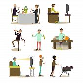 Vector set of people with bad habits isolated on white background. Alcoholic, addicts, tobacco smokers, tramp, tv zombie flat style design elements, icons. poster