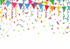 Party flags with confetti and streamer on white background