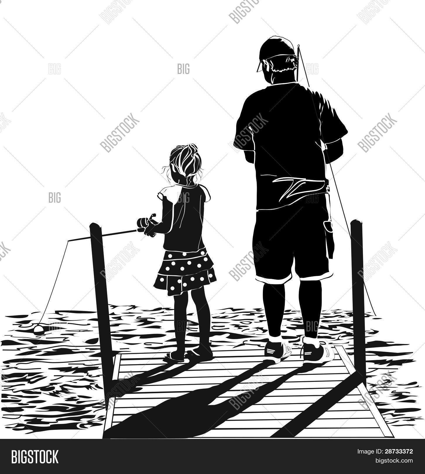 dad daughter fishing vector photo free trial bigstock